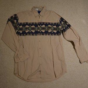 Roper Beige button up with Navajo design